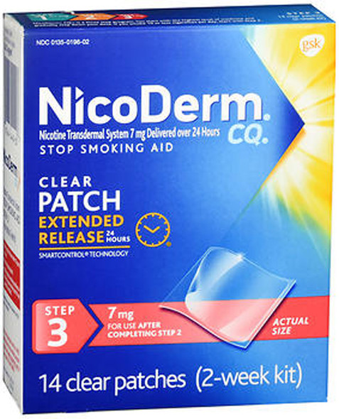 NicoDerm CQ Clear Patches, 7 mg, Step 3 - 14 ct