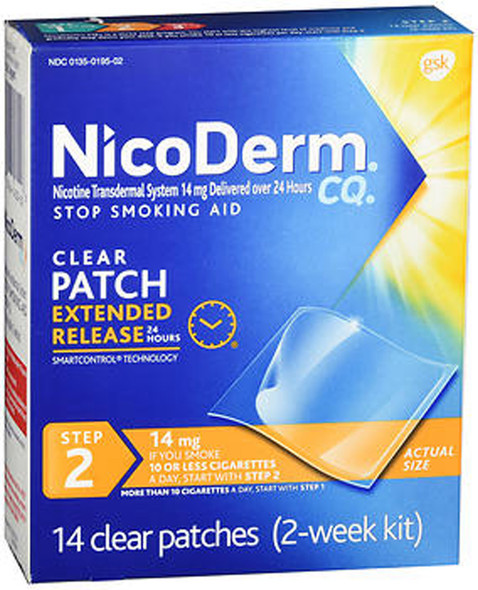 NicoDerm CQ Clear Patches, 14 mg, Step 2 - 14 ct