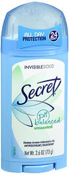 Secret Antiperspirant Deodorant Invisible Solid Unscented - 2.6 oz