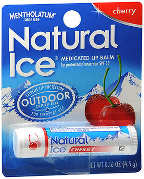 Mentholatum Natural Ice Medicated Lip Balm Cherry Flavor SPF 15 - 12 Ct
