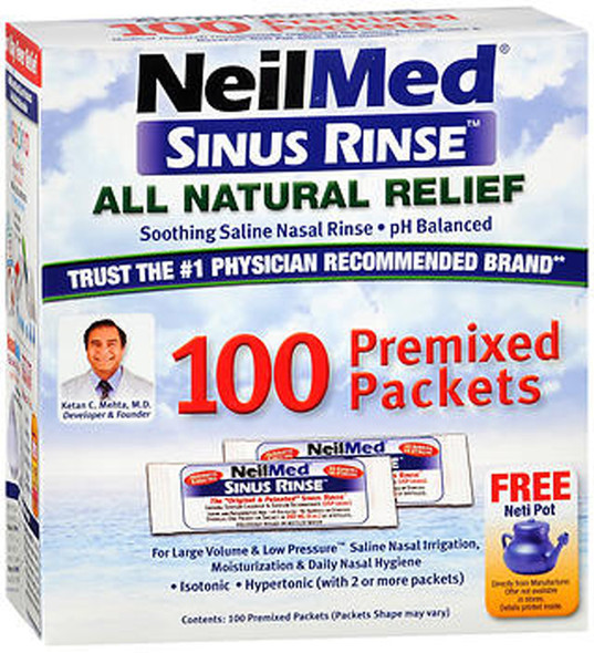 NeilMed Sinus Rinse Premixed Packets, 100 ct