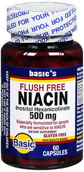 Basic Vitamins Niacin 500 mg Capsules Flush Free - 60 ct