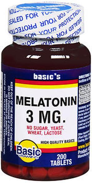 Basic Vitamins Melatonin 3 mg Tablets - 200 ct
