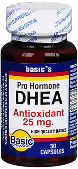 Basic Vitamins DHEA 25 mg Capsules - 50 ct