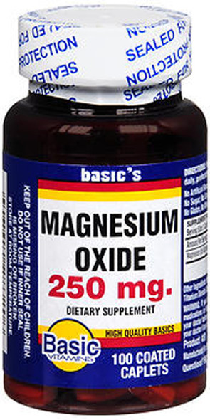 Basic Vitamins Magnesium Oxide 250 mg Caplets - 100 ct