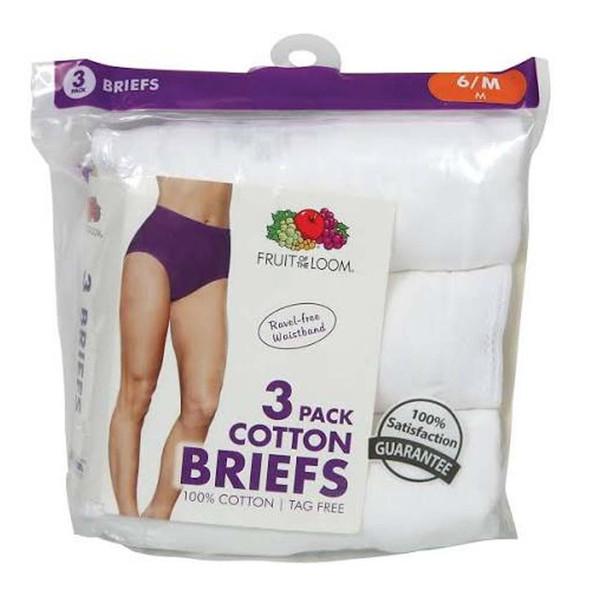 Fruit of the Loom Women's Cotton Briefs Size 12 - 3 Pk. - White