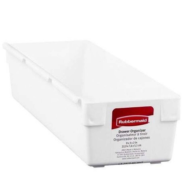 "Rubbermaid 9"" x 3"" x 2"" White Plastic Drawer Storage Organizers 1ct"