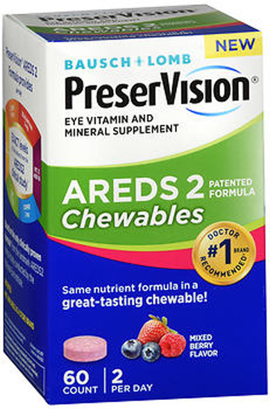 Bausch + Lomb PreserVision AREDS 2 Chewables Mixed Berry Flavor - 60 ct