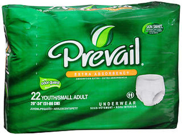Prevail Extra Underwear Youth/Small Adult - 4 pks of 22