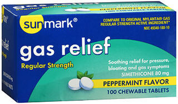 Sunmark Gas Relief Chewable Tablets Regular Strength Peppermint Flavor - 100 ct