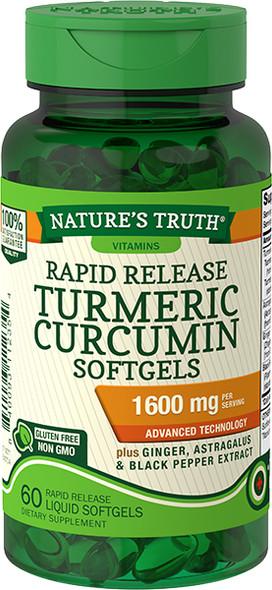 Nature's Truth Rapid Release Turmeric Curcumin 1600 mg Per Serving Softgels - 60 ct