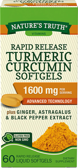 Nature's Truth Rapid Release Turmeric Curcumin 1600 mg Per Serving Softgels - 60 ct