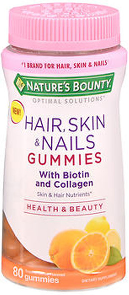 Nature's Bounty Optimal Solutions Hair, Skin & Nails Gummies Tropical Citrus Flavored - 80 Gummies