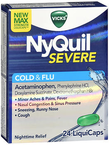 NyQuil Severe Cold & Flu LiquiCaps - 24 ct