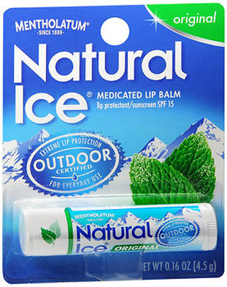 Mentholatum Natural Ice Lip Protectant/Sunscreen Original Flavor SPF 15 - 12 ct