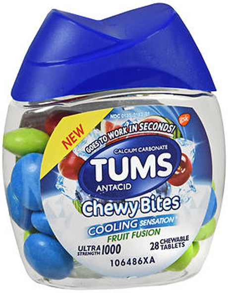 TUMS Ultra Strength 1000 Chewy Bites Cooling Sensation Fruit Fusion - 28 each