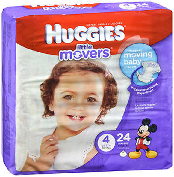 Huggies Little Movers Diapers Size 4 - 4 packs of 22