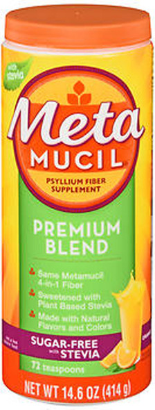 Meta Mucil Premium Blend Psyllium Fiber Powder Sugar-Free with Stevia Orange - 14.6 oz