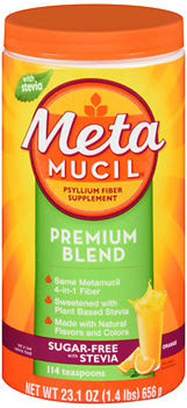 Meta Mucil Premium Blend Psyllium Fiber Powder Sugar-Free with Stevia Orange 23.1 oz