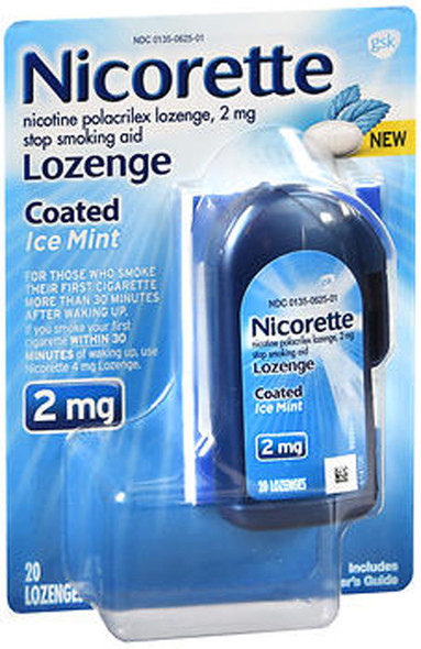 Nicorette 2mg Coated Nicotine Lozenge Stop Smoking Aid - Ice Mint - 20 ct