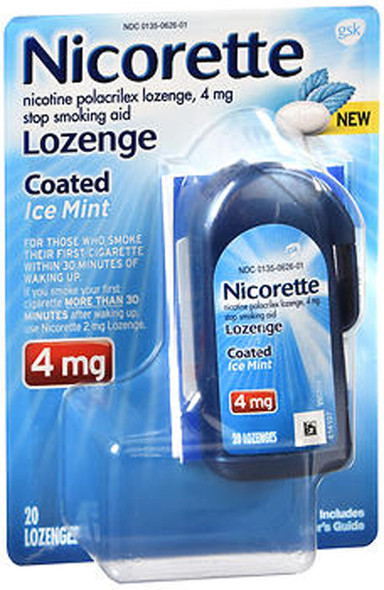 Nicorette 4mg Coated Nicotine Lozenge Stop Smoking Aid - Ice Mint - 20 ct