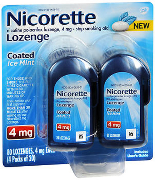 Nicorette 4mg Coated Nicotine Lozenge Stop Smoking Aid - Ice Mint - 80 ct