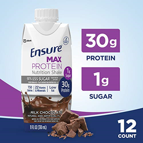 Ensure Max Protein Nutrition Shakes Milk Chocolate 11 oz - 12 Pack