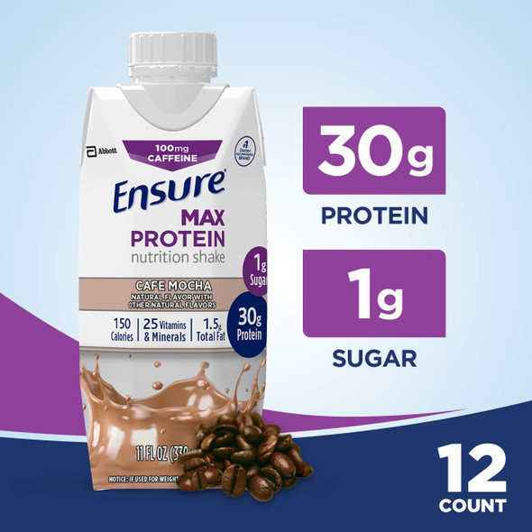 Ensure Max Protein Nutrition Shakes Cafe Mocha 11 oz - 12 Pack