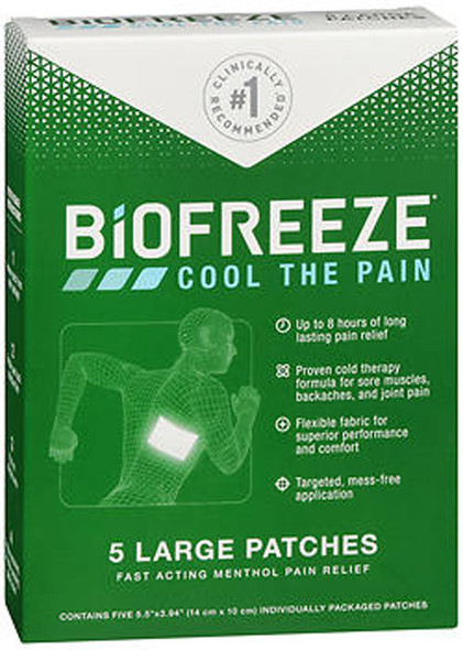 Biofreeze Menthol Pain Relief Patches Large - 5 ct