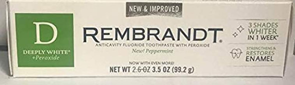 Rembrandt Deeply White + Peroxide Fluoride Toothpaste Peppermint- 2.6 oz