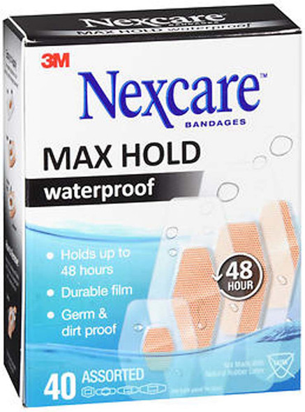 Nexcare Max Hold Waterproof Bandages Assorted - 40 ct
