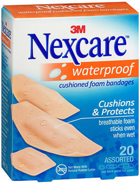Nexcare Waterproof Cushioned Foam Bandages Assorted Sizes - 20 ct