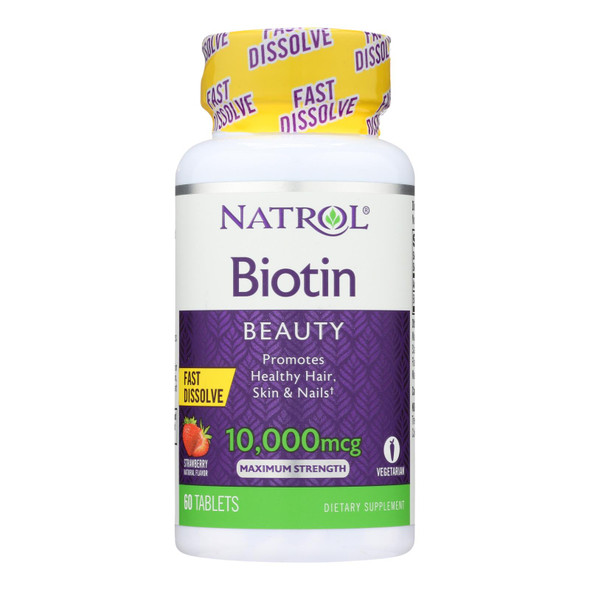 Natrol Biotin - Fast Dissolve - Strawberry - 10000 Mcg - 60 Tablets