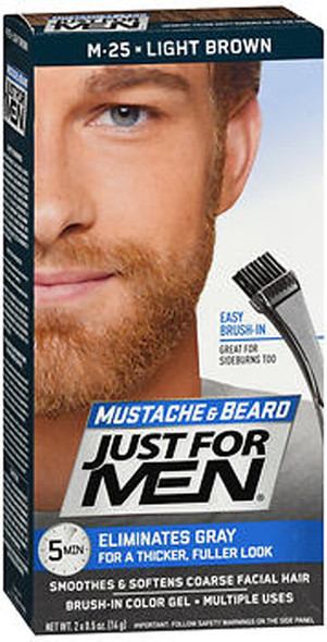 Just For Men Mustache Beard Brush-In Color Gel Light Brown M-25 - 1 Each
