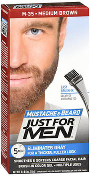 Just For Men Mustache & Beard Brush-In Color Gel Medium Brown M-35 - 1 ea