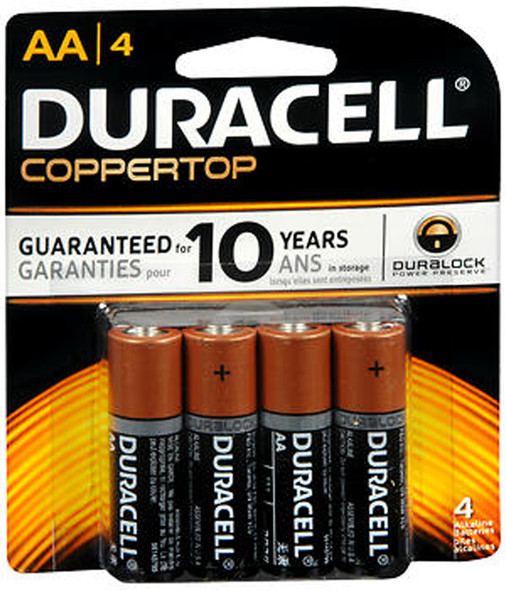 Duracell Coppertop AA Alkaline Batteries 1.5 Volt - 4 ct