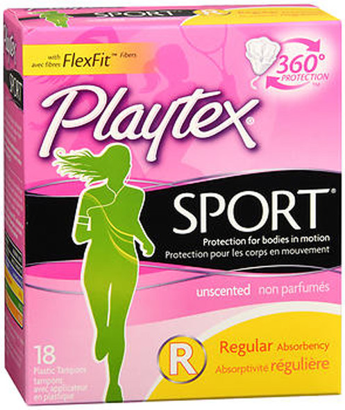 Playtex Sport Tampons Plastic Applicators Regular Absorbency Unscented - 18 ea.