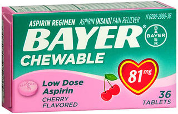 Bayer Chewable Low Dose 'Baby' Aspirin 81 mg Tablets Cherry - 36 ct