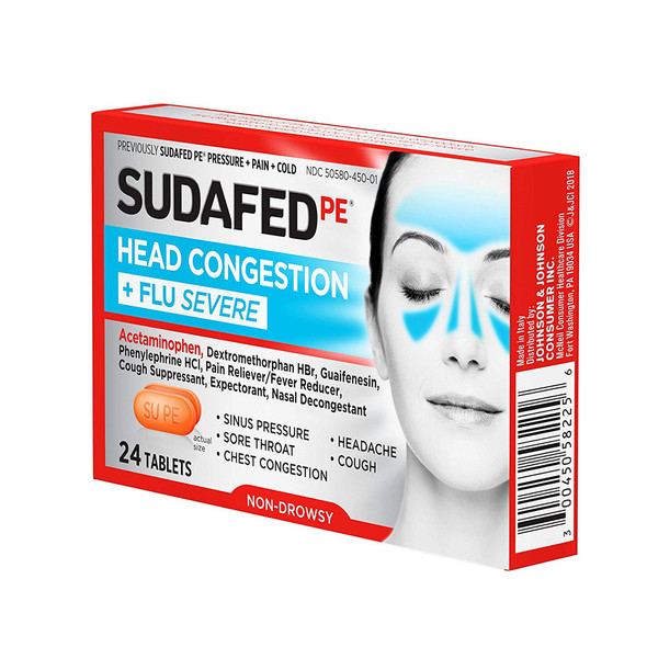 Sudafed Head Congestion + Flu Severe - 24 ct