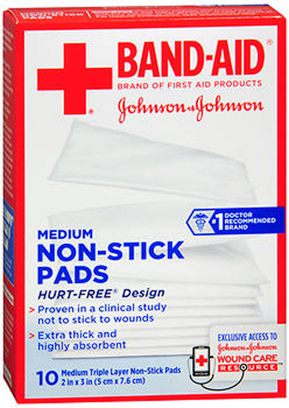 Band-Aid Non-Stick Pads Medium 2 inch x 3 inch - 10 ct