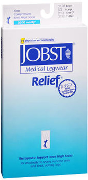 JOBST Medical LegWear Knee High 20-30 mmHg Firm Compression X-Large Beige Close-Toe