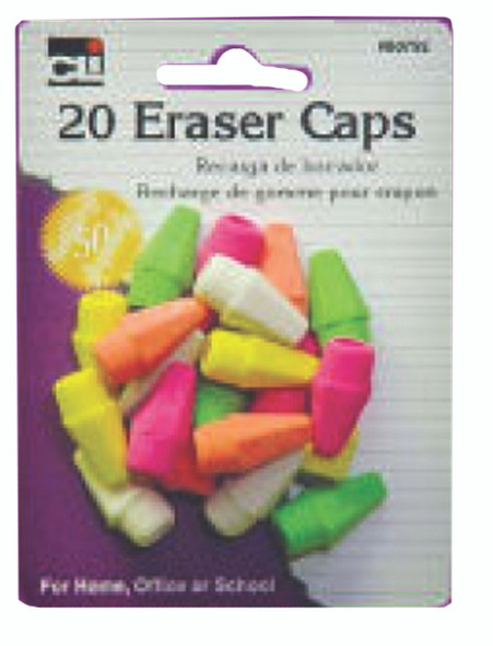 Charles Leonard Pencil Eraser Caps, Neon, Assorted, 20-Pack (80792)