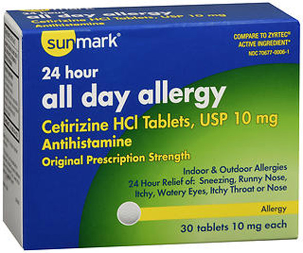 Sunmark 24 Hour All Day Allergy Tablets, 10mg - 30 ct