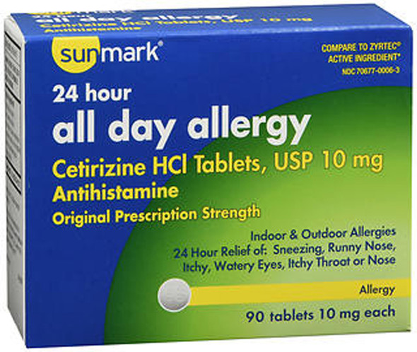 Sunmark All Day Allergy Tablets, 10mg - 90 Tablets