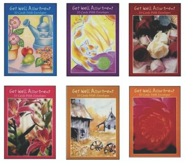 Boxed Greeting Cards, Get Well Assortment - 10 ct