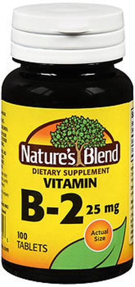 Nature's Blend Vitamin B2 25 mg Tablets - 100 ct