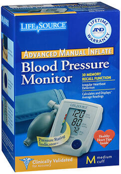 LifeSource Blood Pressure Monitor Advanced Manual Inflate Medium