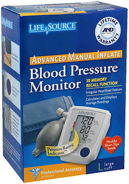LifeSource Advanced Blood Pressure Monitor Manual Inflate UA-705VL