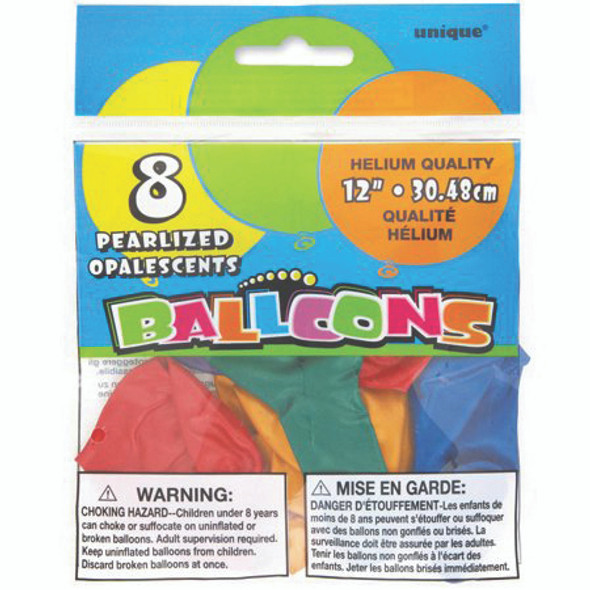 "Happy Birthday Balloon, Assortment, 12"", 8 ct"