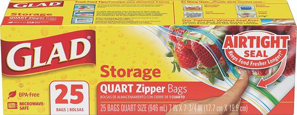 Glad Food Storage Zipper, Qt, 25 ct